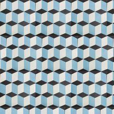 Carreau ciment bleu en cube 3 dimension de qualité par parquet-carrelage.com