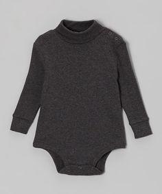 Dark Gray Turtleneck Bodysuit - Infant