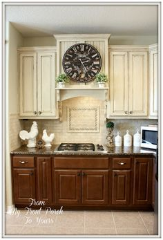 DIY Kitchen Makeover with chalk paint - if can't do the big one, how about just a shelf below the cab and hiding the fan