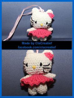 Made by ©ClaCreatief;  Gehaakte Hello Kitty (10 cm). Het patroon is van Jamai
