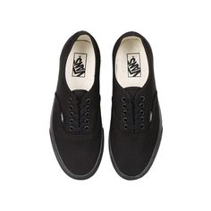 Vans Authentic Black/Black ($67) ❤ liked on Polyvore featuring shoes, sneakers, vans, zapatos, unisex sneakers, black trainers, vans trainers, kohl shoes and waffle trainer