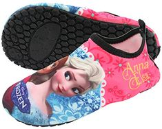 perfect Disney Frozen Elsa Anna Girl's Pink Water Aqua Socks Pool Beach Skin Swim Shoes (Toddler/Youth)