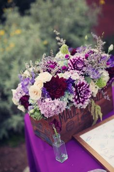 plum purple wedding centerpiece ~ we ❤ this! moncheribridals.com #purplewedding