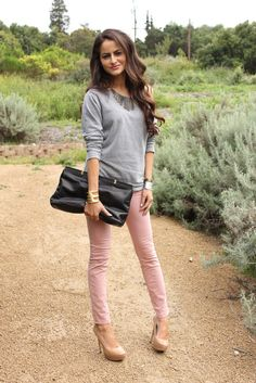 I'm really not sure what the hell this chick is doing in the wilderness with heels on....but I love the pink and gray.