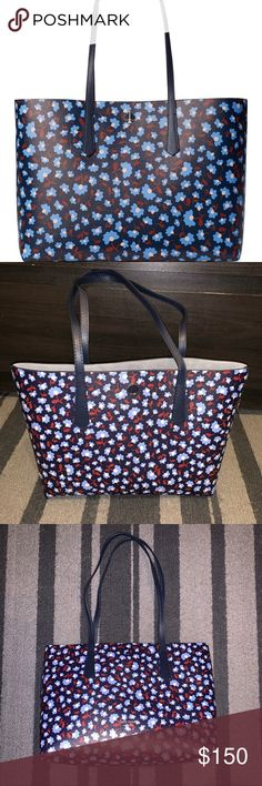 Details about  /Liz Claiborne Navy Blue With Floral Design Purse 14inch Wide X 9inch Height