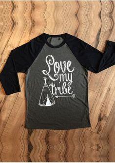 Love My Tribe Arrow Three Quarter Sleeve Baseball T-Shirt
