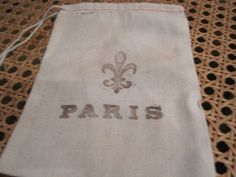 Paris Fleur De Lys   Stamped Muslin Pouches by frenchcountry1908, $6.25