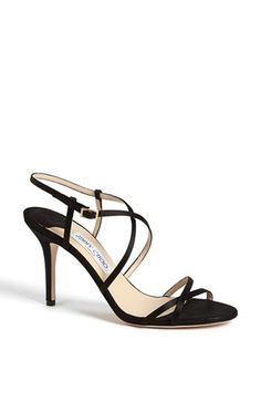 Jimmy Choo 'Elaine' Sandal -Satin straps cross atop a minimalist sandal with a goldtone buckle and slender heel.