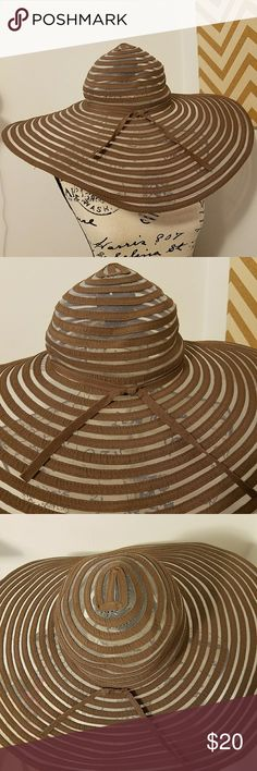 Wide Brim Striped Semi-Sheer Sun Hat Perfect for summer and beach days!  Wide brim sun hat in brown and mesh striped pattern. Adjustable to fit all sizes. Accessories Hats