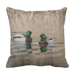 Two mallard drakes and reflections throw pillow - photography gifts diy custom unique special