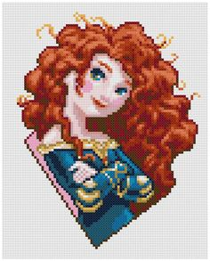PDF Cross Stitch pattern 0003.Princess Merida Brave por PIXcross