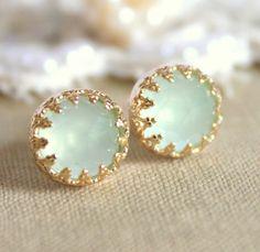 Elizabeth green mint sea foam  petite  royal  -  Real Aquamarine gem stone  Earrings vintage and Elegant style. $37.00, via Etsy.