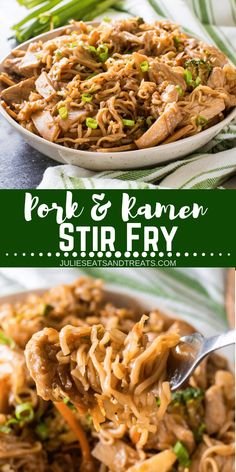 Delicious twist on Stir Fry with Pork and Ramen Stir Fry! This quick and easy dinner recipe features your favorite Ramen Noodles! A fun and delicious twist on Stir Fry with Pork and Ramen Stir Fry. This will be your family's new, favorite dinner recipe! Leftover Pork Tenderloin, Pork Tenderloin Recipes, Leftover Pork Loin Recipes, Roast Brisket, Beef Tenderloin, Pork Roast, Loin Chops, Pork Recipes For Dinner, Beef Recipes