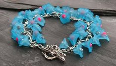 Turquoise, pink and silver flower bracelet with dragonfly clasp, floral bracelet Pink Turquoise, Flower Bracelet, Organza Gift Bags, Silver Flowers, Handmade Jewellery, Hot Pink, Jewelry Making, Chain, Beads