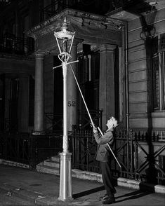 Lamplighter – Lamplighters used long poles to light, extinguish, and refuel street lamps until electric lamps were introduced.