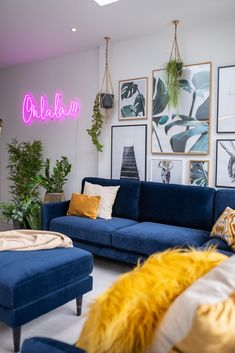 How To Use Classic Blue – Pantone's Colour Of The Year 2020 – The Interior Editor - evolution. Blue Couch Living Room, Colourful Living Room, New Living Room, My New Room, Colourful Lounge, Classic Living Room, Bleu Pantone, Small Sitting Rooms, Living Room Color Schemes