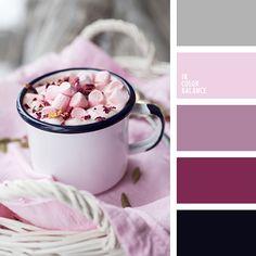 оттенки лилового цвета, оттенки розового, песочно-розовый, розовая гвоздика, серо-вишневый, серо-лиловый, серо-розовый, серый, темно-лиловый, темно-синий, ультра-розовый, цвет маршмеллоу, цвет серебра, черный.