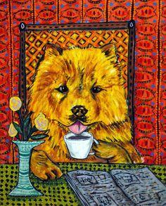 WINE PRINT shar pei dog art 13x19 poster modern pattern gift JSCHMETZ