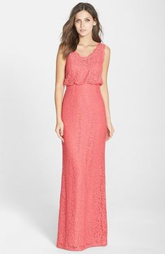 Women's Adrianna Papell Floral Lace Blouson Column Gown