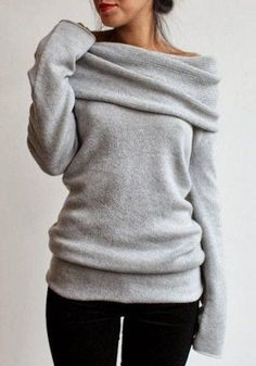 Elegant Gray Slash Collar Long Sleeve Pullover Knitwear For Women