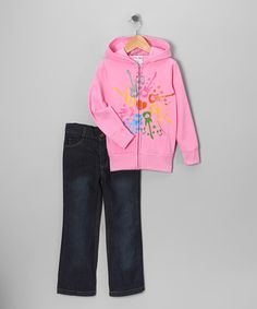 #zulily and #fall - Take a look at this Pink Music Zip-Up Hoodie & Jeans - Infant, Toddler & Girls by Blow-Out on #zulily today!