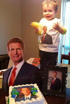 This toddler loves the ads for a local personal injury lawyer so much, his mom made it his birthday party theme.