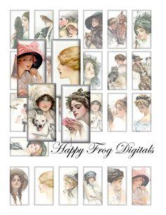 Harrison Fisher Beauties  1x2 inch tile  by happyfrogdigitals