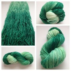 OZ OMBRÉ ~ These single ply skeins have INCREDIBLE stitch definition! Perfect for sweaters and hats, fingerless mitts and warm shawls. These high quality skeins are very soft and will not pill or separate with wear. Color(s): shades of emerald green with gradual color change to cream (I use only professional grade dyes) Fiber(s): 100% superwash merinoWeight: worsted (my supplier lists these as DK weight, but they are thicker than that, IMO)Length/yardage:  /- 240 yards