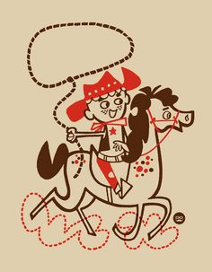 I love mid-century illustrations, especially when the color isn't set perfectly.  This image of a tiny cowboy rocks!