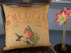 HUMMINGBIRDS Decorative Pillow Mexican Southwest by arribachica