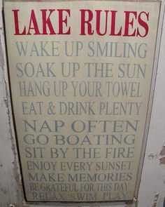 Extra Large Rustic Cabin Lake Cottage Rules Sign Primitive Typography  subway sign