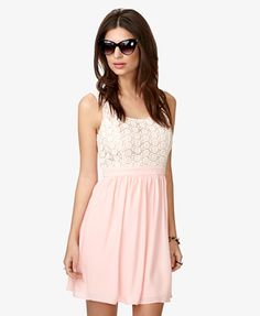 Crocheted Bodice Chiffon Dress $27.80 (Forever 21)