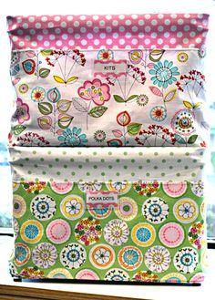 Make fabric covers for plastic milk crates.