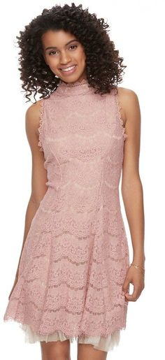 Three Pink Hearts Juniors' Three Pink Hearts Lace Tulle Mockneck A-Line Dress