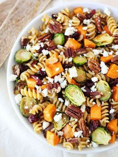Brown Butter Pasta with Sweet Potatoes and Brussels Sprouts. Brown Butter Pasta with Sweet Potatoes and Brussels Sprouts Recipes This pasta dish has all of my favorite fall ingredients and the simple . Pasta Recipes, Salad Recipes, Dinner Recipes, Cooking Recipes, Cafe Recipes, Smoothie Recipes, Health Nut Salad, Sweet Potato Pasta, Gastronomia