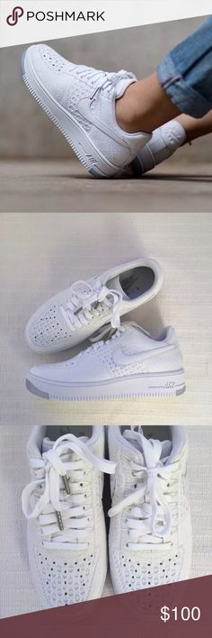 Women's Nike Air Force 1 Low Flyknit Low Sneakers Women's Nike Air Force 1 Low Flyknit Low Sneakers Style/Color: 820256-101 • Women's size 6 • NEW in box (no lid) • No trades •100% authentic Nike Shoes Sneakers