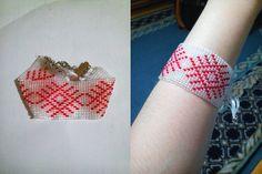 Beads bracelet with 'Belarusian vyshyvanka' ornament, symbol of Sun, width 3,5 sm