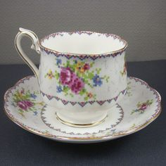 "A vintage Royal Albert Petit Point pattern bone china English tea cup. Marked on the bottom ""Royal Albert Bone China England Petit Point China Reg. No..778676""
