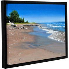 ArtWall Ken Kirsh Driftwood Beach Gallery-Wrapped Floater-Framed Canvas, Size: 18 x 24, Blue