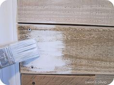 How to white wash wood... This is what I will be doing to my cedar walls in our family room!! :-)