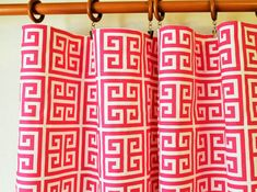 Curtains Pair 50 wide geometric greek towers hot pink by LivePlush, $110.00 Other prints and custom orders as well.