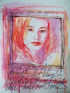 """Precious Things"" (portrait of Tori Amos) watercolour and ink, by Bonnie Rose Bryan - www.BRBryan.com - #tori #toriamos"