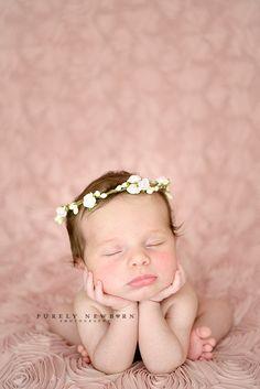 sweet newborn girl with flower crown