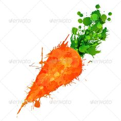 Carrot made of Colorful Splashes