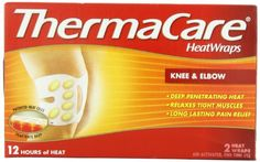 Thermacare Knee and Elbow 12 Hour, 2-Count (Pack of 3). Targeted Heat Therapy. 12 hours of heat for all day pain relief Helps stop knee or elbow arthritis flare-ups before they stop you Delivers heat that penetrates deep, warming the muscle right where it hurts to relax soother and unlock tight muscles for lasting pain relief. Allows you to move freely while delivering therapeutic heat. Flexible enough to be worn on the move during chores or while relaxing.