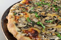 For the Love of Cooking » Spinach, Garlic, Mushroom, and Fresh Basil Pizza