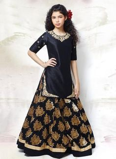 Taffeta And Silk Party Wear Lehenga Suit In Blue And Cream Colour Pakistani Dresses, Indian Dresses, Indian Outfits, Indian Clothes, Little Girl Dresses, Girls Dresses, Party Dresses, Wedding Dresses For Kids, Anarkali