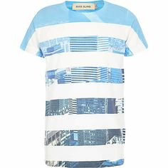 Boys white city stripe print t-shirt $20.00