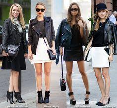 How to Wear: Black Leather Biker Jacket + Skirt