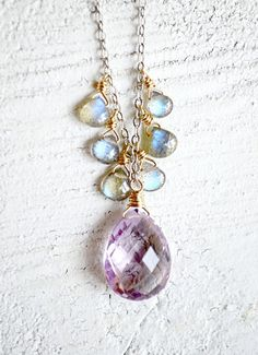 Pink amethyst and labradorite necklace purple